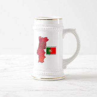 Mapa y bandera de Portugal Jarra De Cerveza