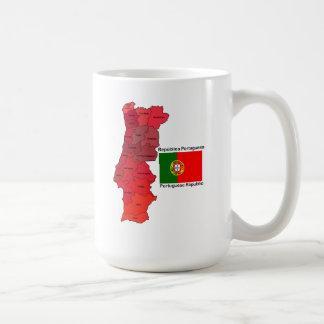 Mapa y bandera de Portugal Taza Clásica