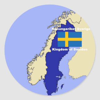 Mapa y bandera de Suecia Pegatina Redonda