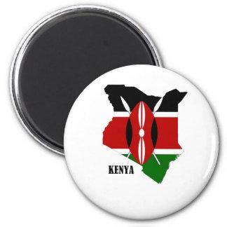 Mapa y bandera del Kenyan Imanes Para Frigoríficos