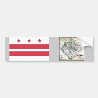 Mapa y bandera del Washington DC Pegatina De Parachoque