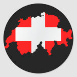 mapa y bandera - pegatina de Suiza