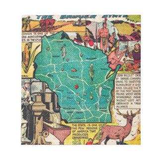 Mapa y hechos de Wisconsin Bloc De Papel