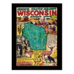 Mapa y hechos de Wisconsin Tarjetas Postales