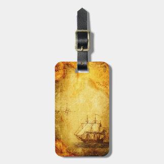 Mapa y nave antiguos etiquetas para equipaje