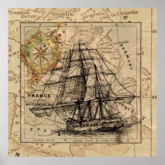 Mapa y nave viejos antiguos de general Francia Póster