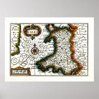 Mapa y/o bandera de País de Gales Póster