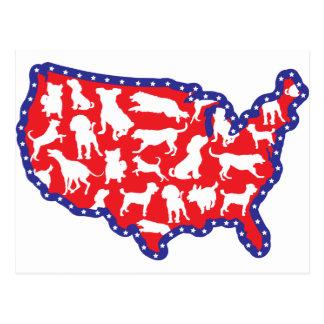 Mapa y perros de los E.E.U.U. Postal