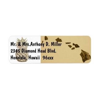 Mapa y piña de Hawaii Etiqueta De Remite