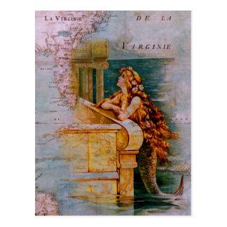 Mapa y sirena náuticos antiguos tarjetas postales