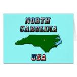 Mapa y texto de Carolina del Norte Tarjeta Pequeña