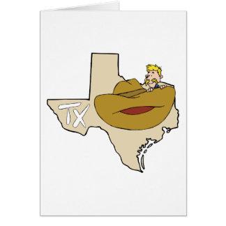 Mapa y vaquero de Tejas TX con el dibujo animado d Felicitaciones