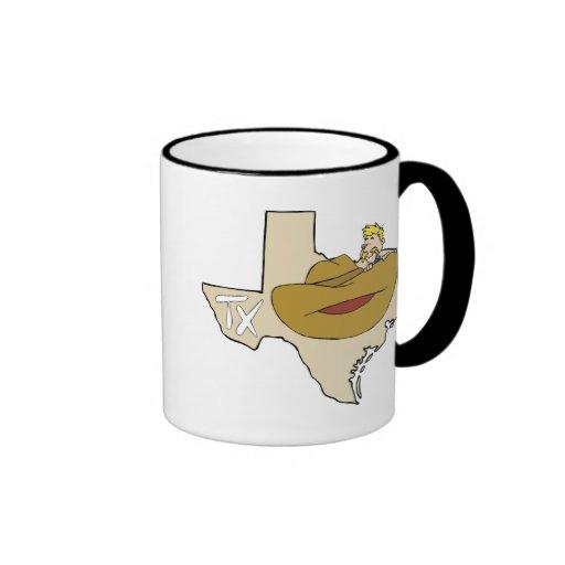 Mapa y vaquero de Tejas TX con el dibujo animado d Taza De Café