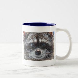 Mapache #1 taza de café de dos colores