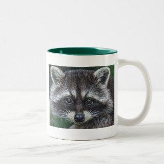 Mapache #3 taza de café de dos colores