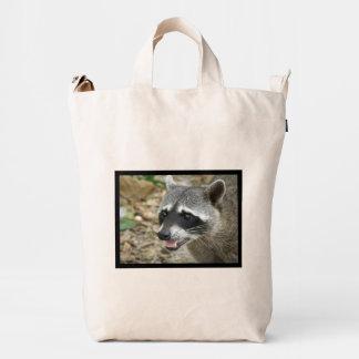 Mapache adorable bolsa de lona duck