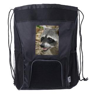 Mapache adorable mochila de cordón
