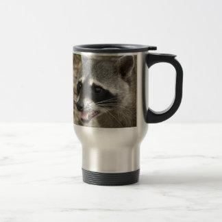 Mapache adorable taza de viaje de acero inoxidable