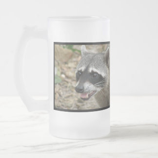 Mapache adorable taza cristal mate
