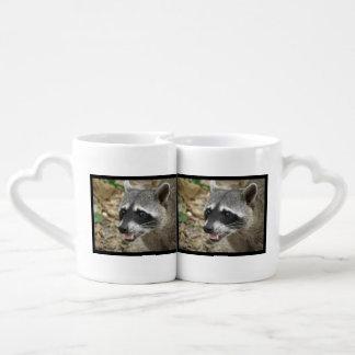 Mapache adorable tazas para parejas