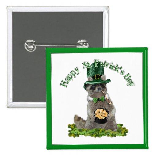 Mapache afortunado del día de St Patrick Pins