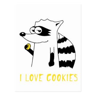 Mapache: Amo las galletas Tarjetas Postales