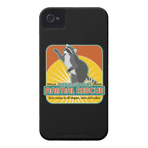 Mapache animal del rescate iPhone 4 Case-Mate cárcasas