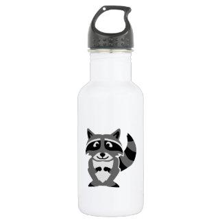 Mapache cómico botella de agua