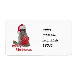 Mapache del bandido del navidad con el presente etiquetas de envío