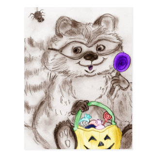 Mapache del feliz Halloween Tarjeta Postal