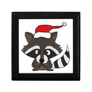 Mapache divertido en arte del navidad del gorra de caja de recuerdo