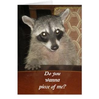 Mapache en una tarjeta de felicitación de Tabel