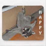 Mapache feliz Mousepad Alfombrillas De Ratón