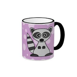 Mapache lindo del dibujo animado tazas de café