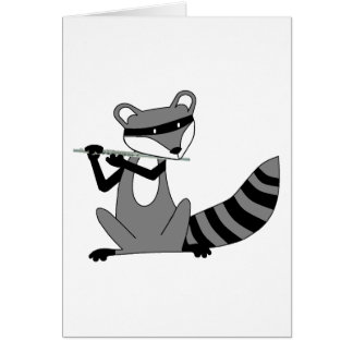 Mapache que toca la flauta tarjeta de felicitación