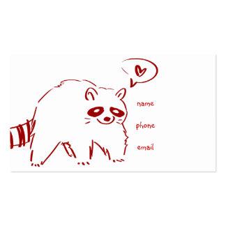 Mapache rojo en amor tarjeta personal