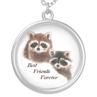 Mapaches lindos, mejores amigos para siempre, BFF, Colgante Redondo