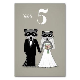 Mapaches que casan la tarjeta de la tabla de novia
