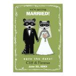 Mapaches que casan reserva el verde de la fecha comunicados personalizados