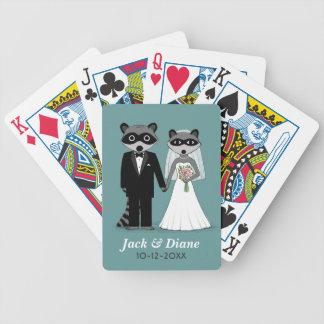 Mapaches que se casan con el texto de encargo baraja de cartas