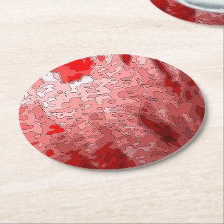 mapas abstractos, de color rojo oscuro posavasos personalizable redondo