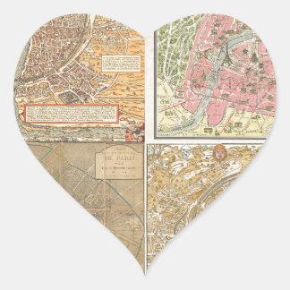 Mapas antiguos de París Pegatina En Forma De Corazón