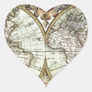 Mapas antiguos del mundo pegatina en forma de corazón