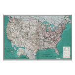 Mapas de Estados Unidos, poster impreso del mapa d