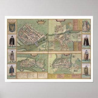 Mapas de Galway, de Dublín, de la quintilla, y del Posters