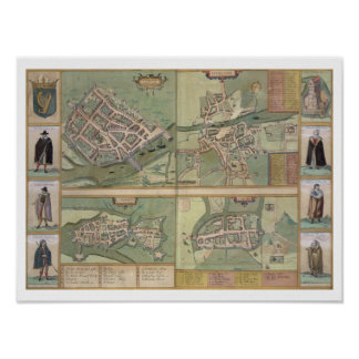 Mapas de Galway, de Dublín, de la quintilla, y del Póster