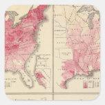 Mapas de la vitalidad de Estados Unidos Pegatina Cuadrada