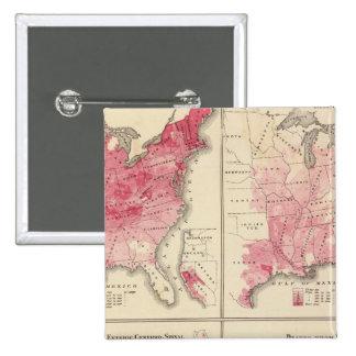 Mapas de la vitalidad de Estados Unidos Pin Cuadrado