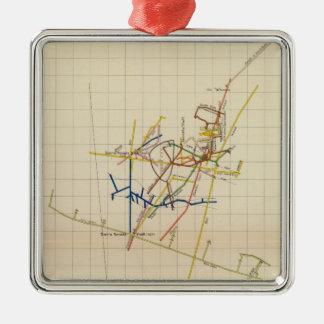 Mapas de mina de Comstock número II Adorno Cuadrado Plateado