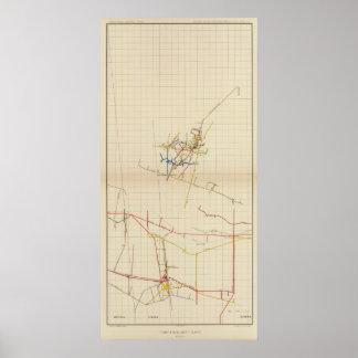 Mapas de mina de Comstock número II Póster
